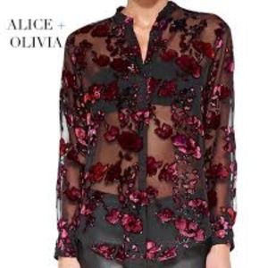 NWT Alice + Olivia Floral Sheer Blouse